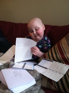 My child with cancer, being forced to help me publicize my memoir.