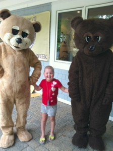 Our (increasingly hairy!) bear with the Camp Sunshine bears.